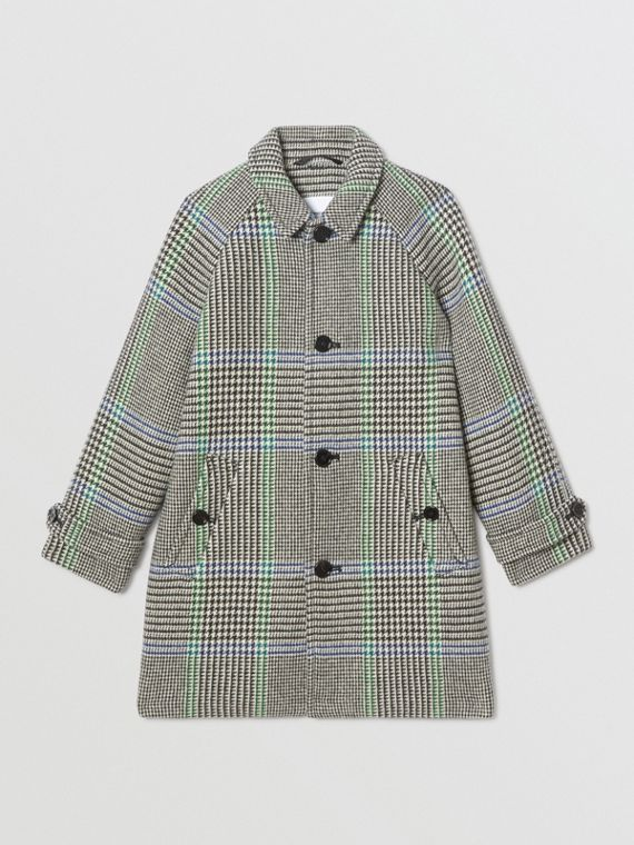Houndstooth Check Wool Blend Car Coat in Clover Green