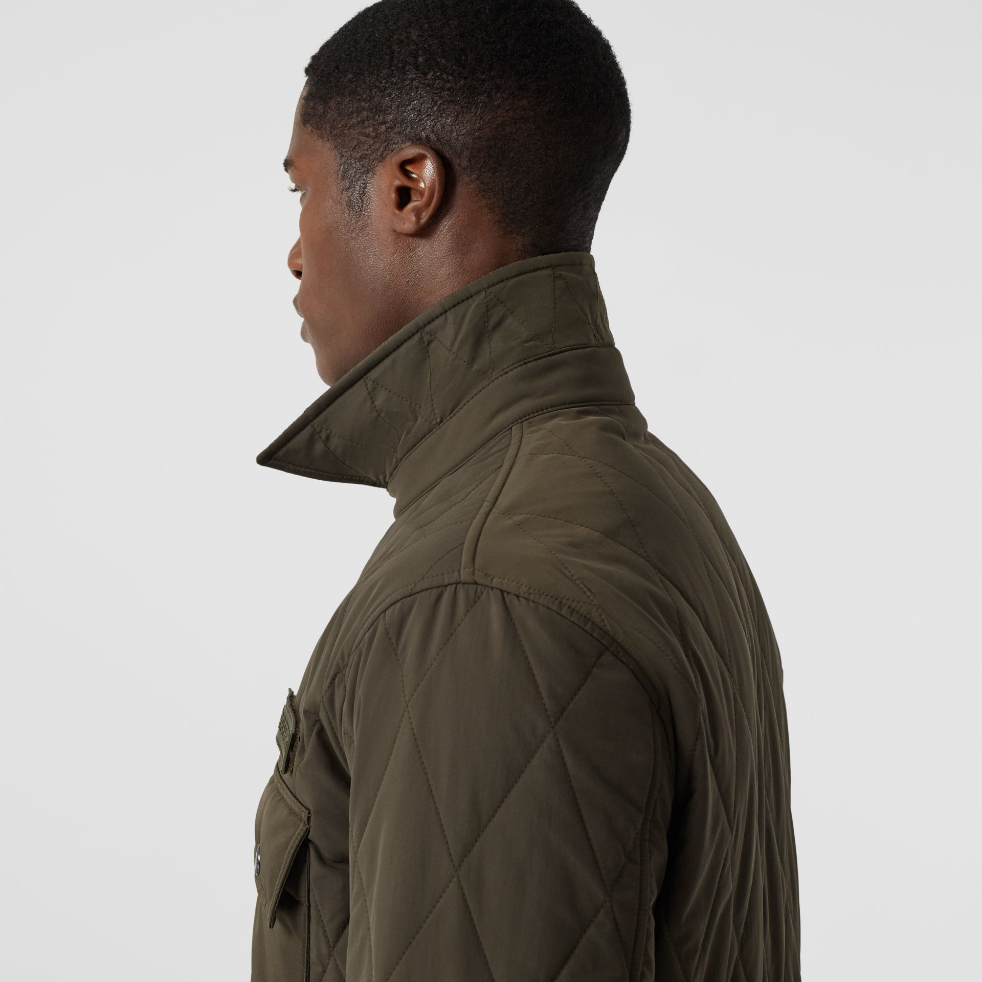 Quilted Nylon Thermoregulated Overshirt in Dark Olive Green - Men | Burberry - gallery image 6