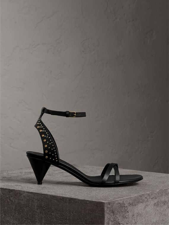 Riveted Leather Cone-heel Sandals in Black