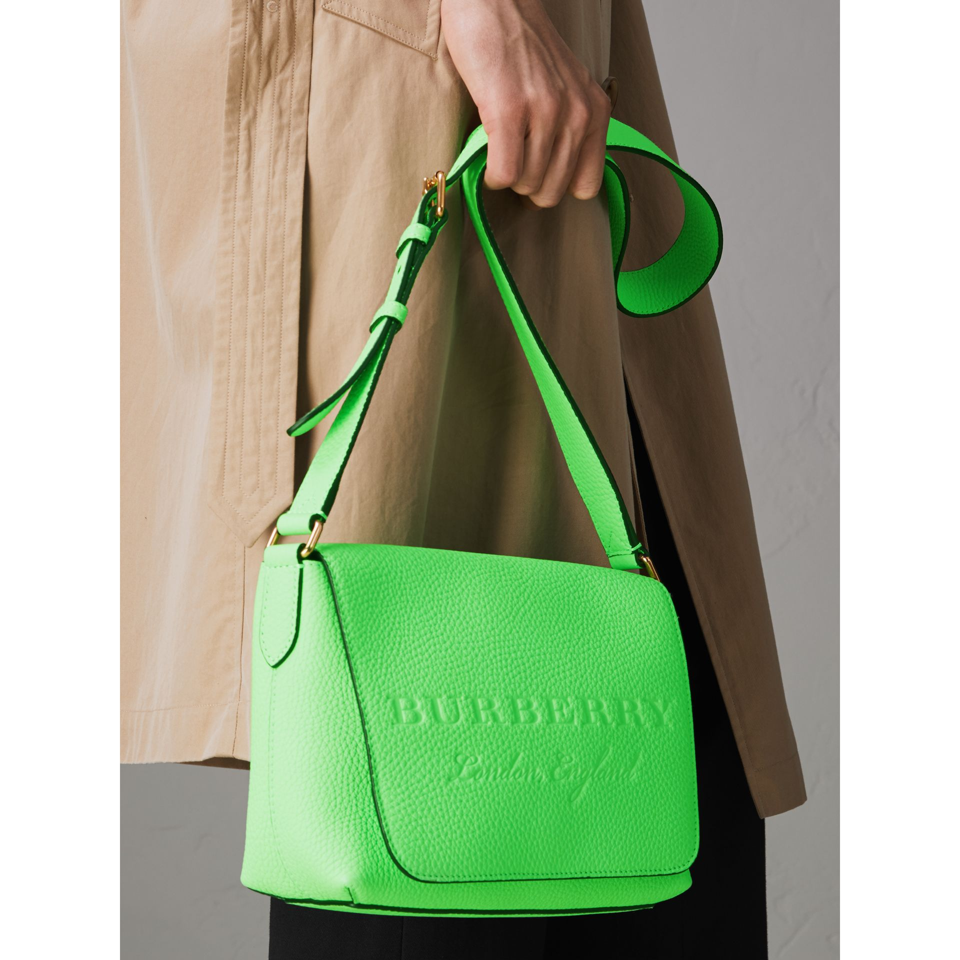 Small Embossed Neon Leather Messenger Bag in Green | Burberry - gallery image 7
