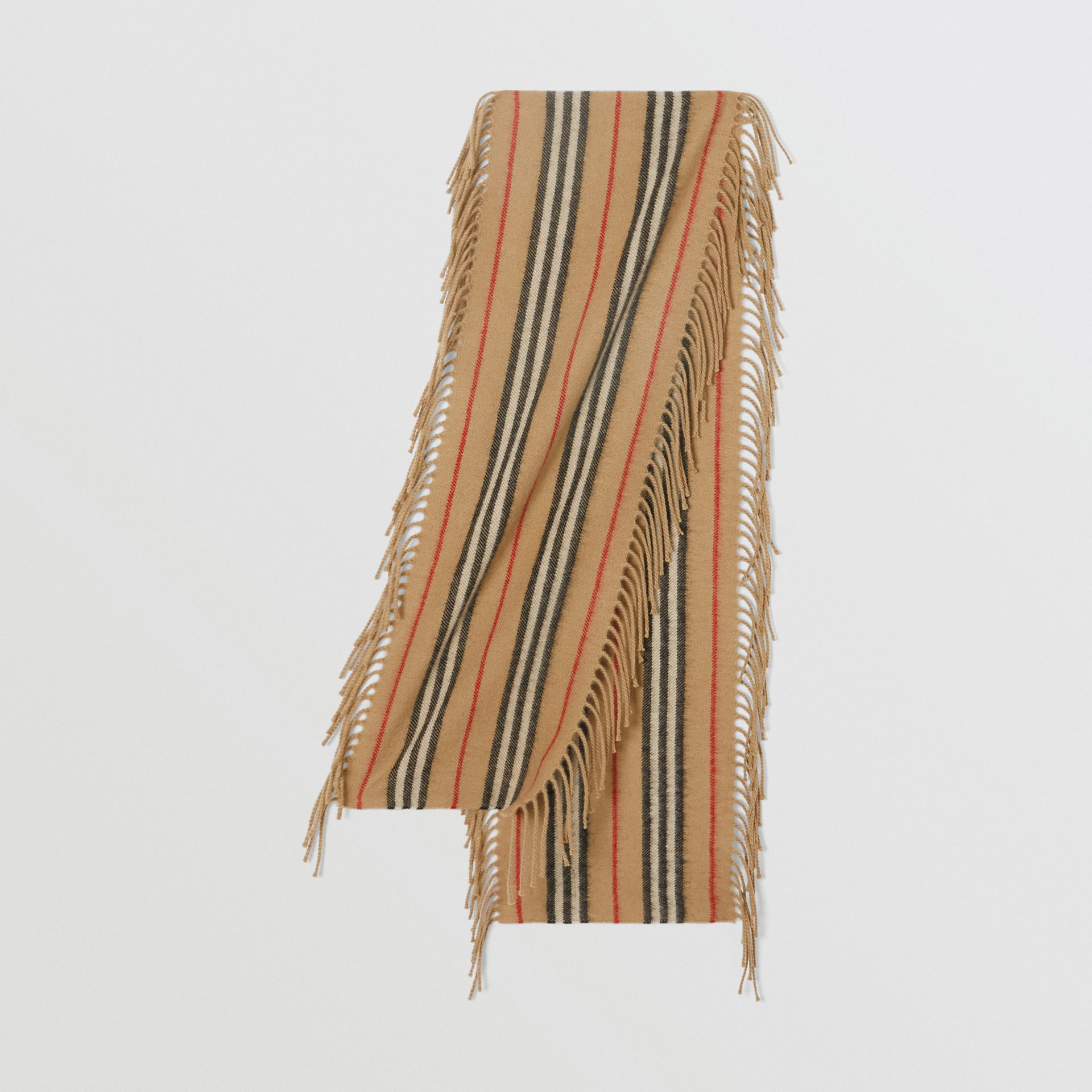 Fringed Icon Stripe Cashmere Scarf in Archive Beige - Children | Burberry United States - gallery image 0