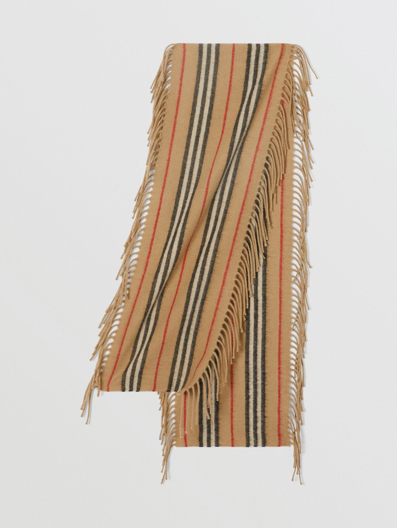 Fringed Icon Stripe Cashmere Scarf in Archive Beige