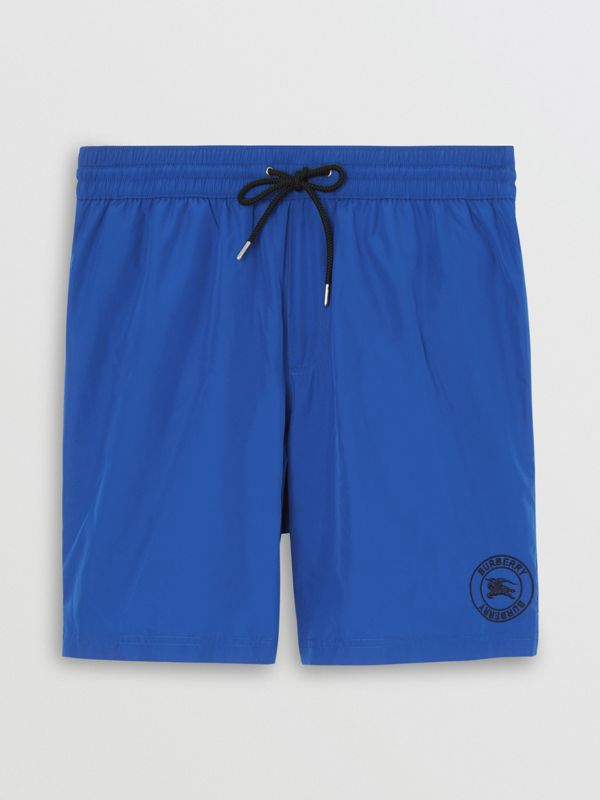 Embroidered Logo Drawcord Swim Shorts in Bright Navy - Men | Burberry - cell image 3