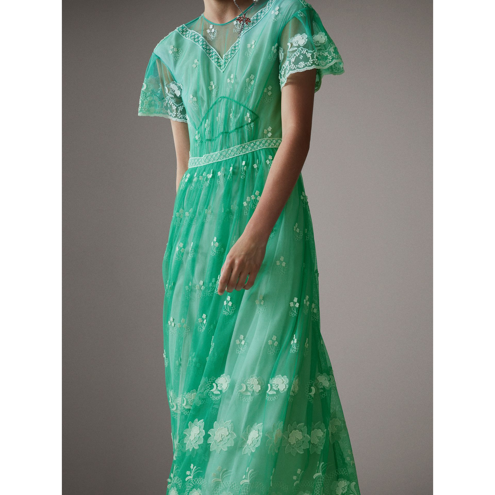 Embroidered Tulle Gathered Dress in Aqua Green/white - Women | Burberry Singapore - gallery image 1