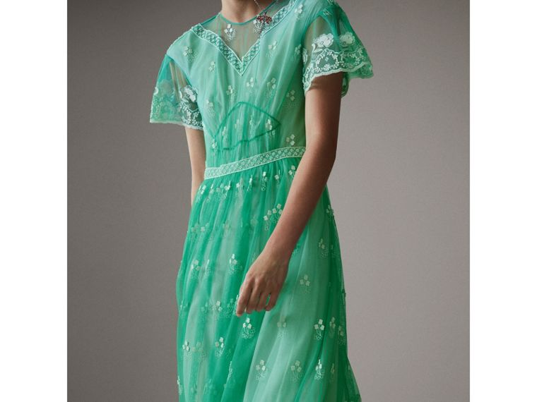 Embroidered Tulle Gathered Dress in Aqua Green/white - Women | Burberry - cell image 1