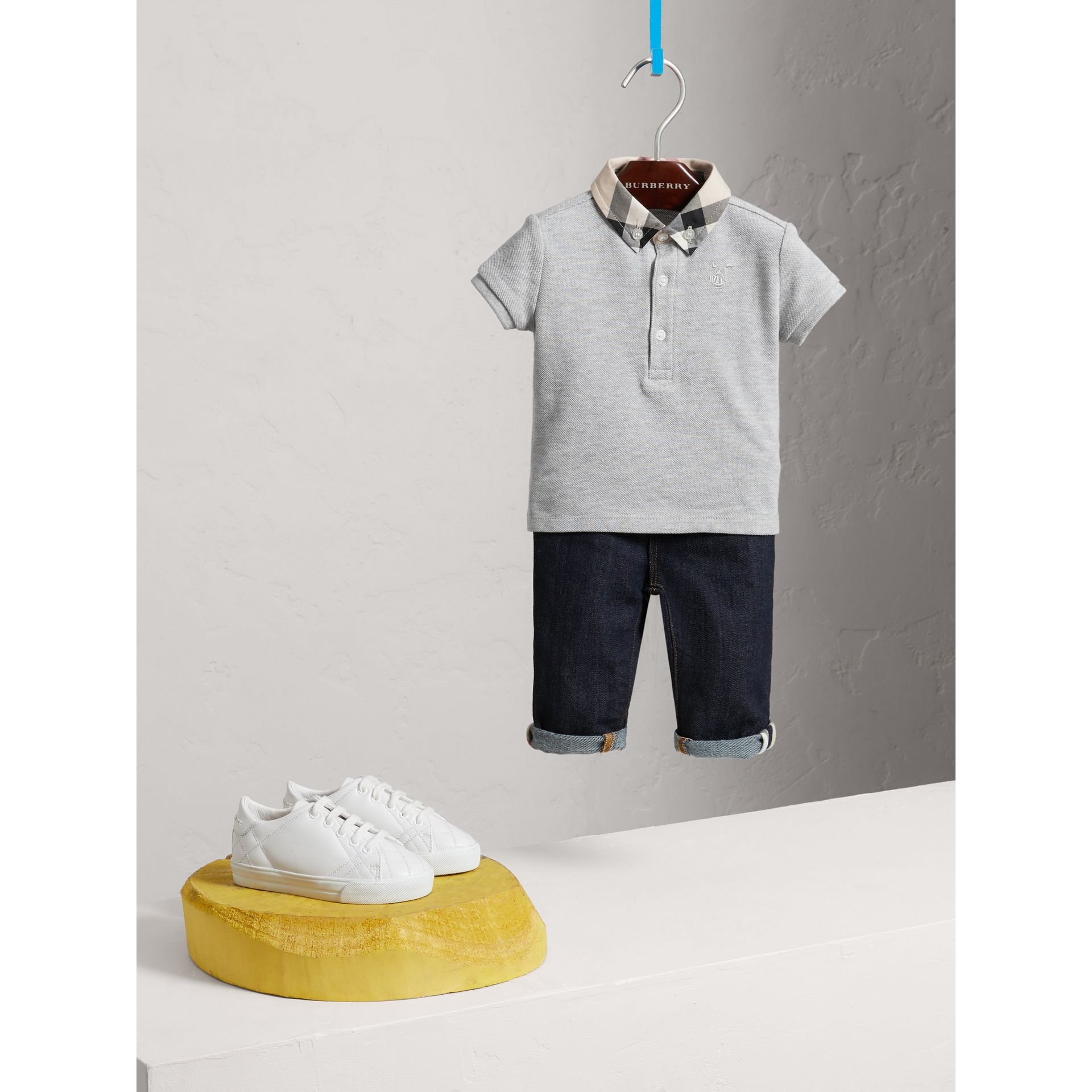 Check Collar Cotton Polo Shirt in Pale Grey Melange - Children | Burberry - gallery image 2