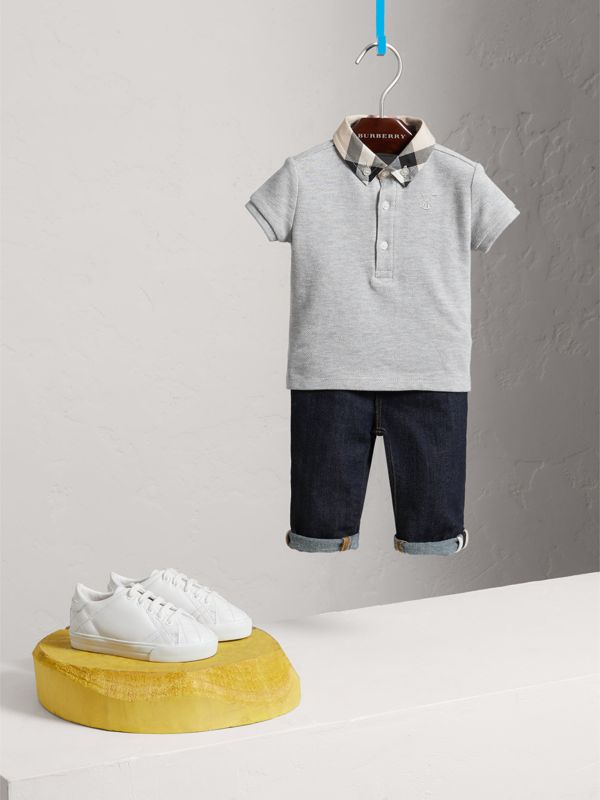 Check Collar Cotton Polo Shirt in Pale Grey Melange - Children | Burberry - cell image 2