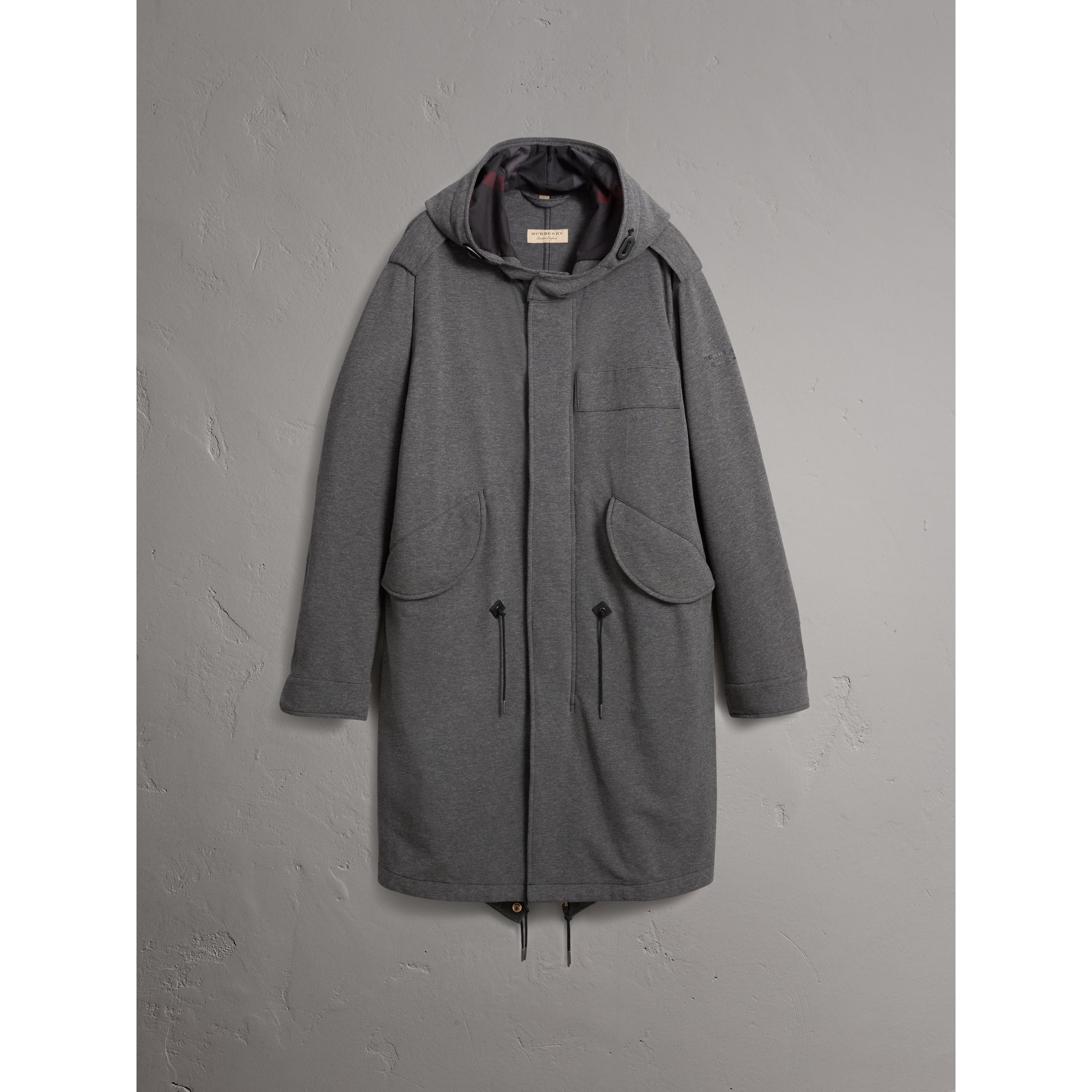 Lightweight Jersey Parka in Dark Grey Melange - Men | Burberry - gallery image 4