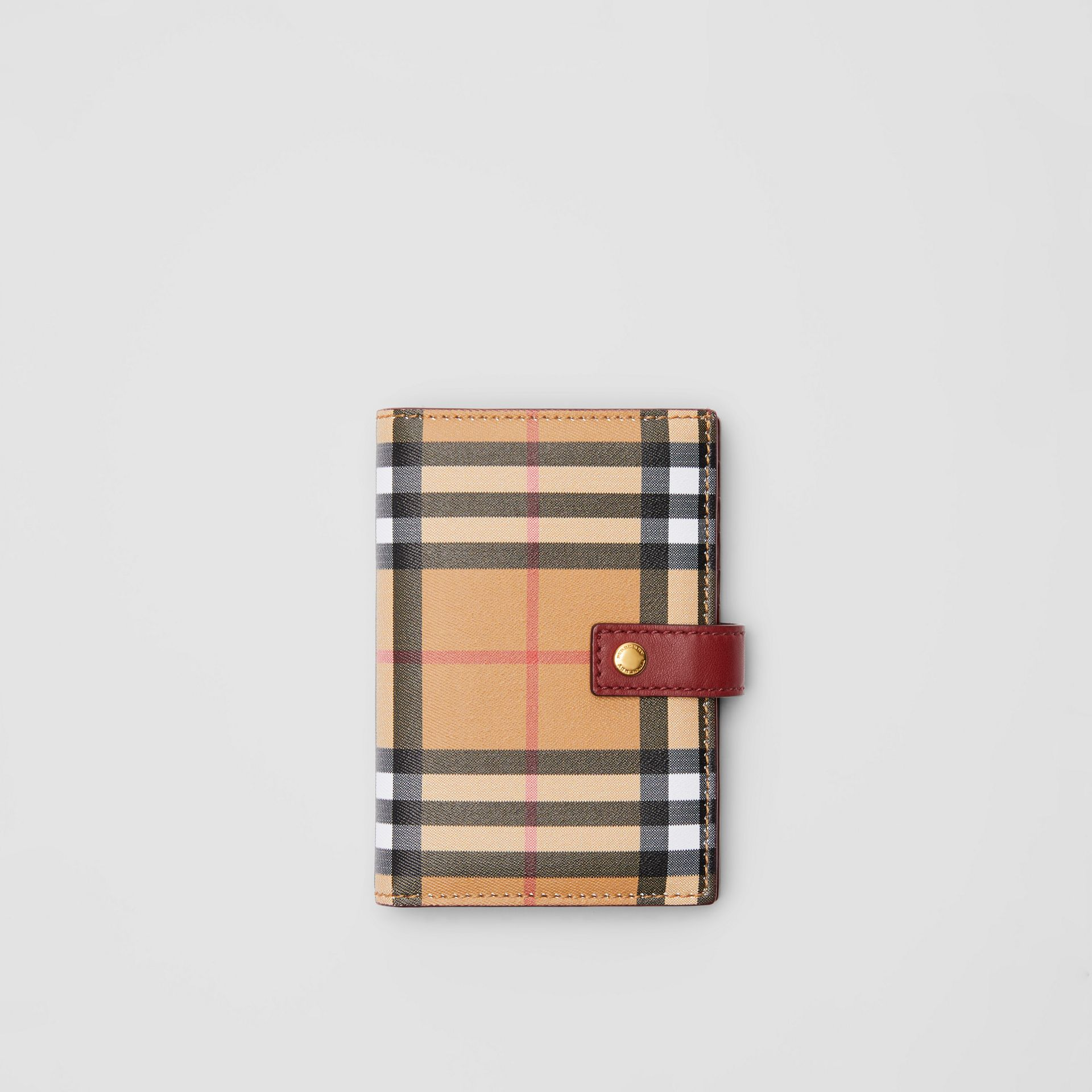 Vintage Check and Leather Folding Wallet in Crimson - Women | Burberry - gallery image 0