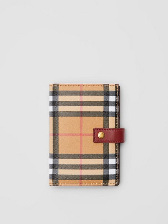 Vintage Check and Leather Folding Wallet in Crimson