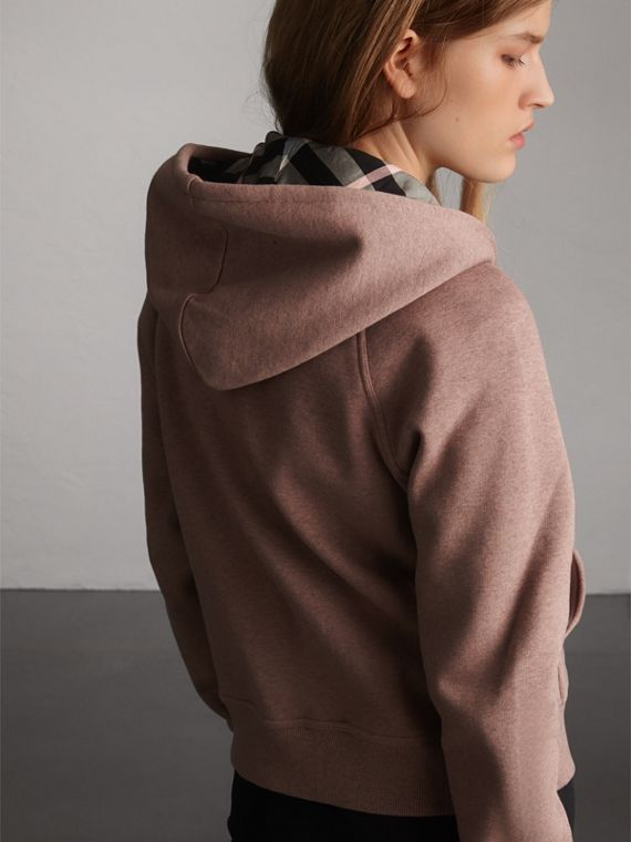 Hooded Cotton Blend Top in Antique Rose - Women | Burberry - cell image 2