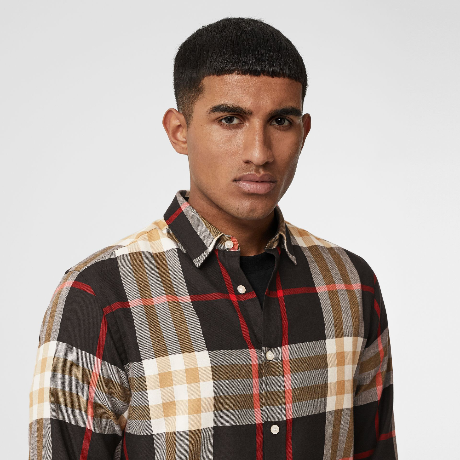 Check Cotton Flannel Shirt in Black - Men | Burberry - gallery image 1