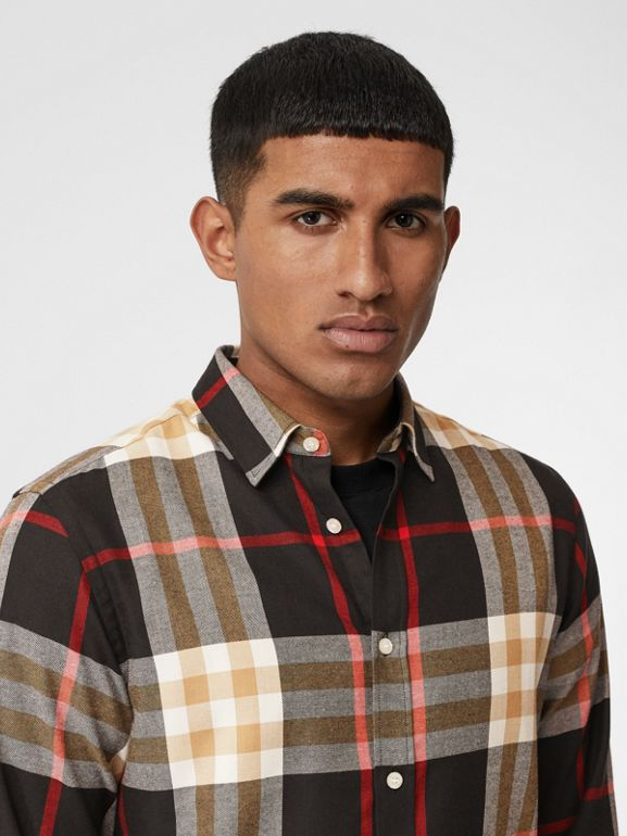 Check Cotton Flannel Shirt in Black - Men | Burberry - cell image 1
