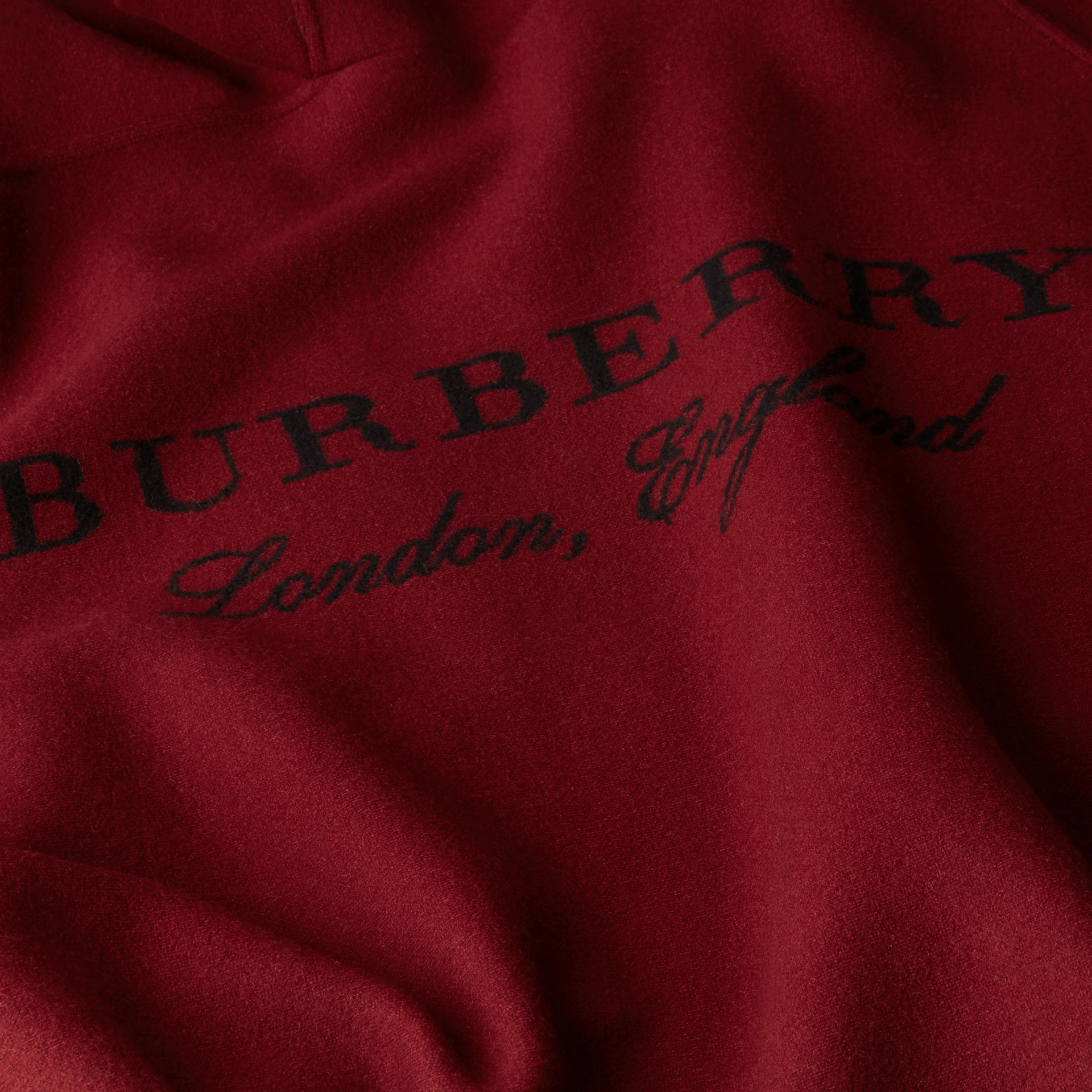 Wool Cashmere Blend Hooded Poncho in Deep Red - Women | Burberry Canada - gallery image 2