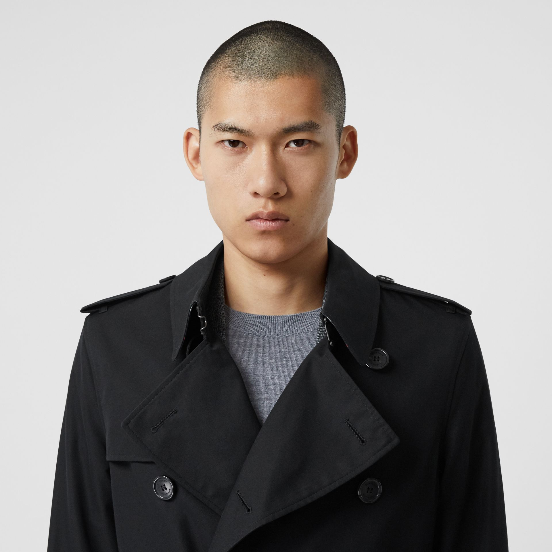 Cotton Gabardine Trench Coat in Black - Men | Burberry - gallery image 1