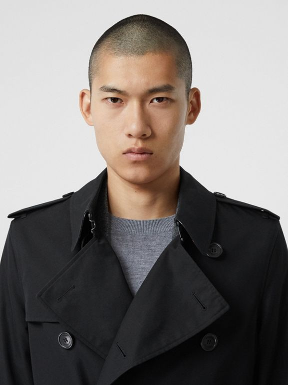 Cotton Gabardine Trench Coat in Black - Men | Burberry Canada - cell image 1