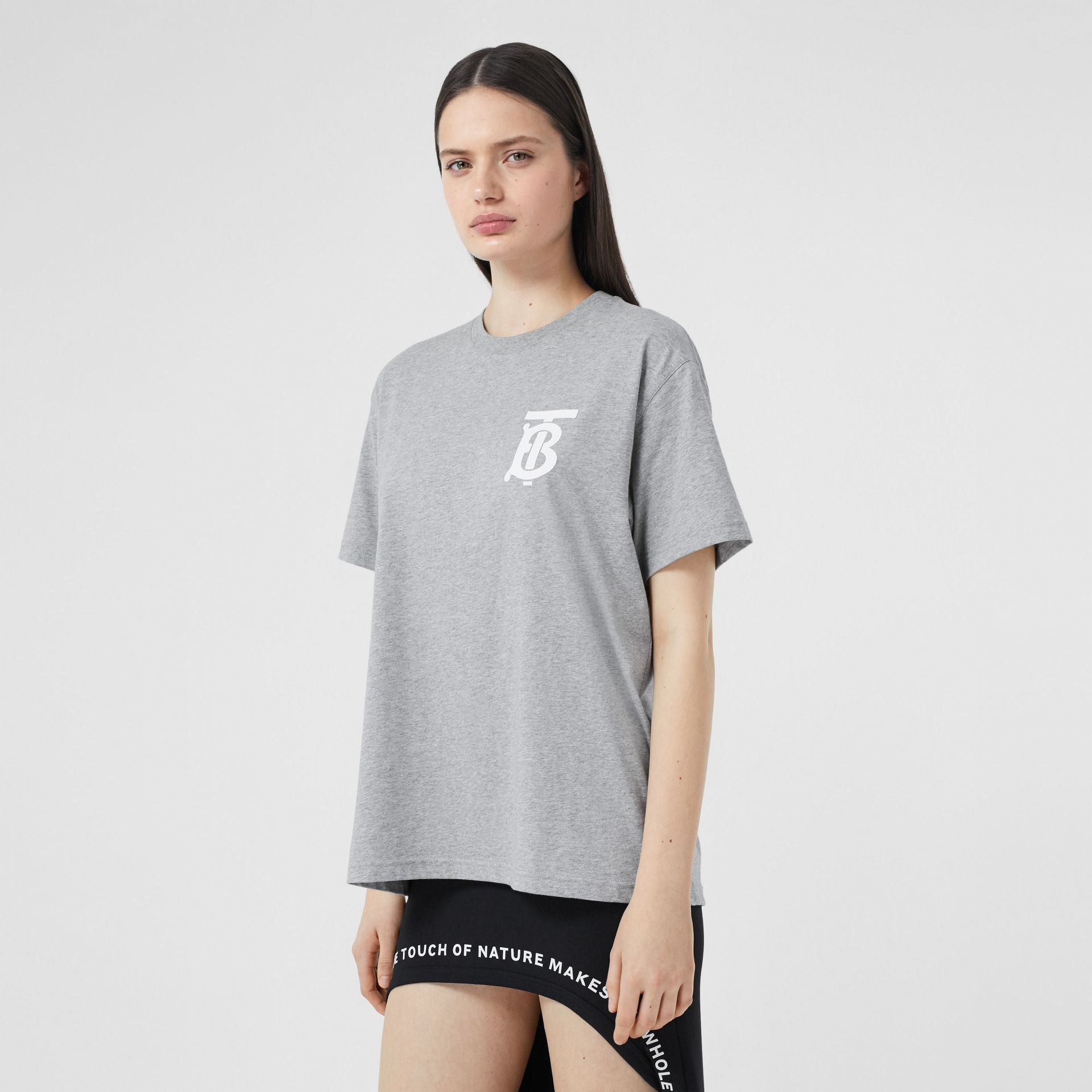 Monogram Motif Cotton Oversized T-shirt in Pale Grey Melange - Women | Burberry - gallery image 4