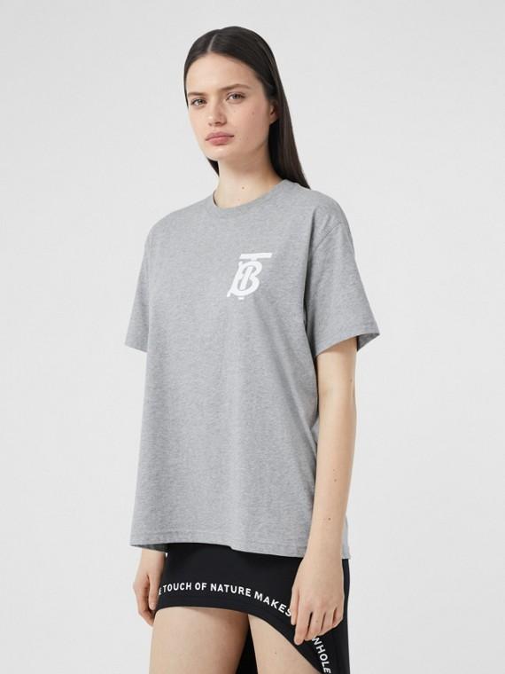 T-shirt oversize in cotone con motivo monogramma (Grigio Pallido Mélange)