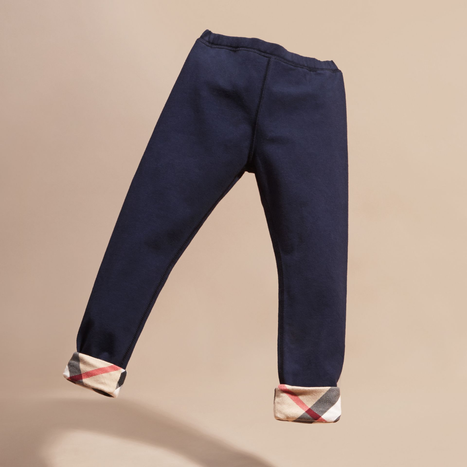 Navy Stretch Cotton Leggings - gallery image 3