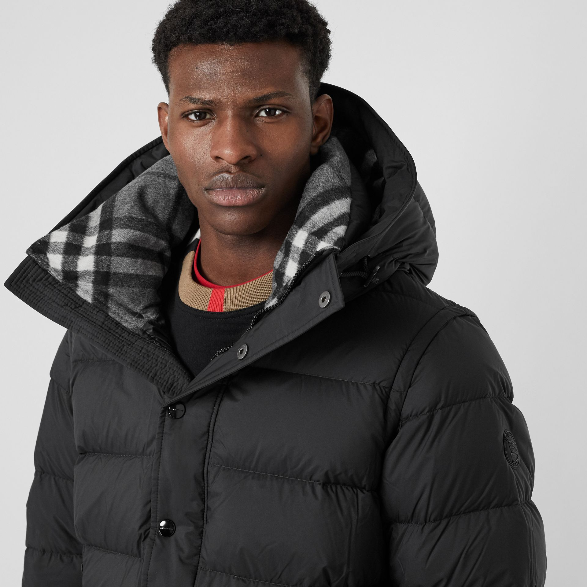 Detachable-sleeve Down-filled Hooded Puffer Jacket in Black - Men | Burberry United States - gallery image 1