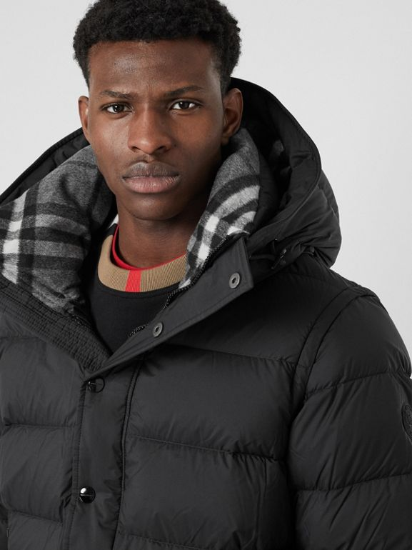 Detachable-sleeve Down-filled Hooded Puffer Jacket in Black - Men | Burberry United States - cell image 1