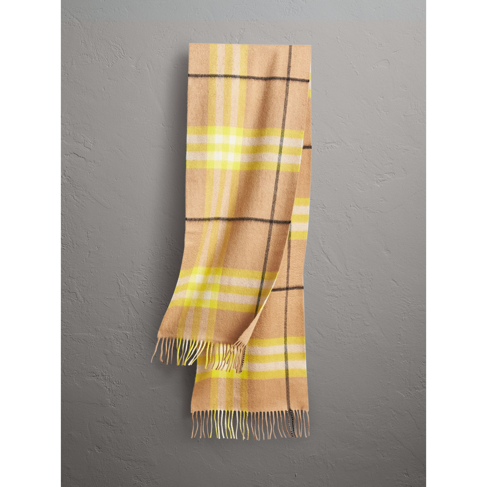 The Classic Check Cashmere Scarf in Bright Lemon | Burberry United Kingdom - gallery image 0