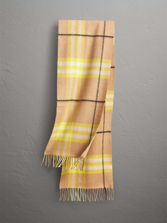 The Classic Check Cashmere Scarf in Bright Lemon