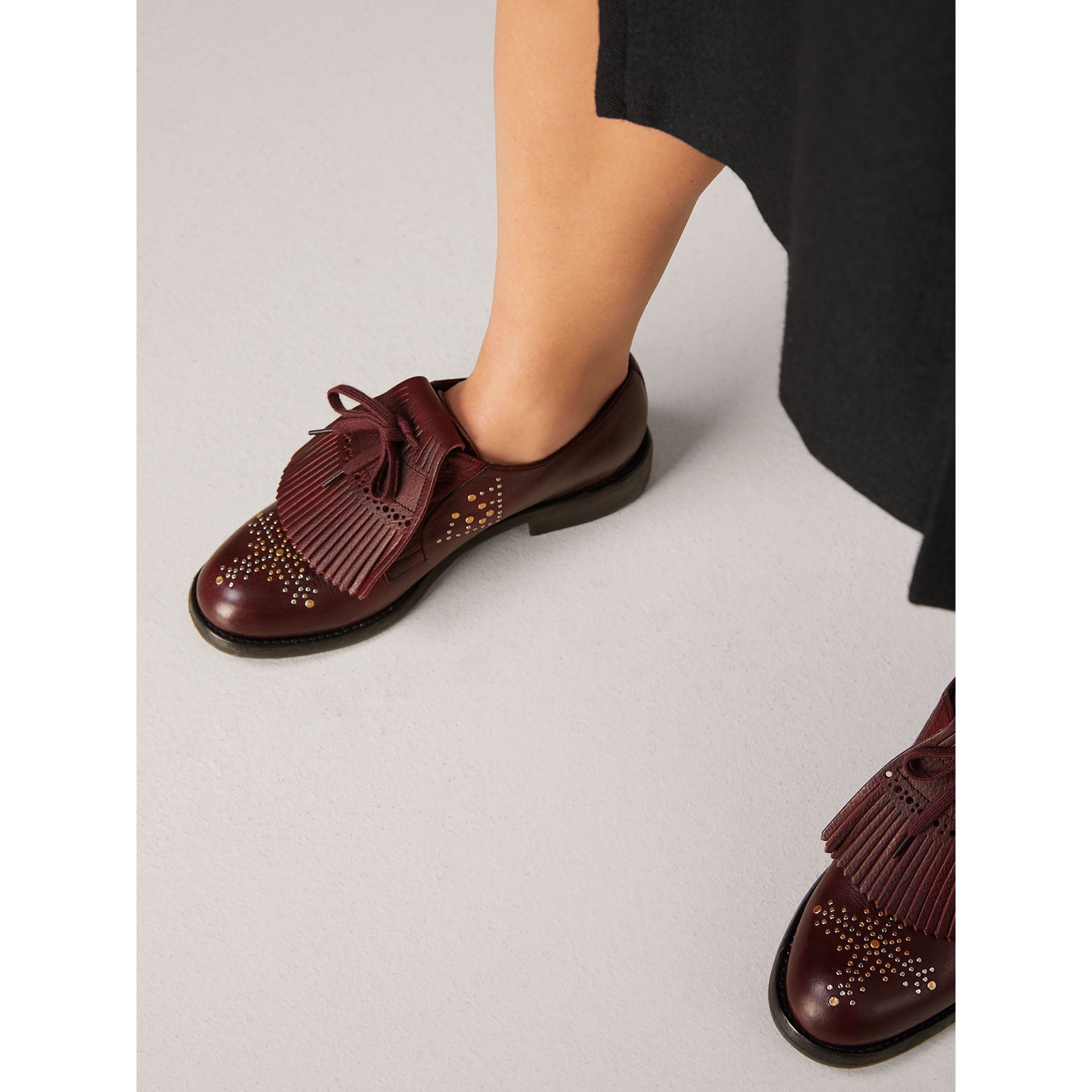 Lace-up Kiltie Fringe Riveted Leather Loafers in Cerise Purple - Women | Burberry - gallery image 2