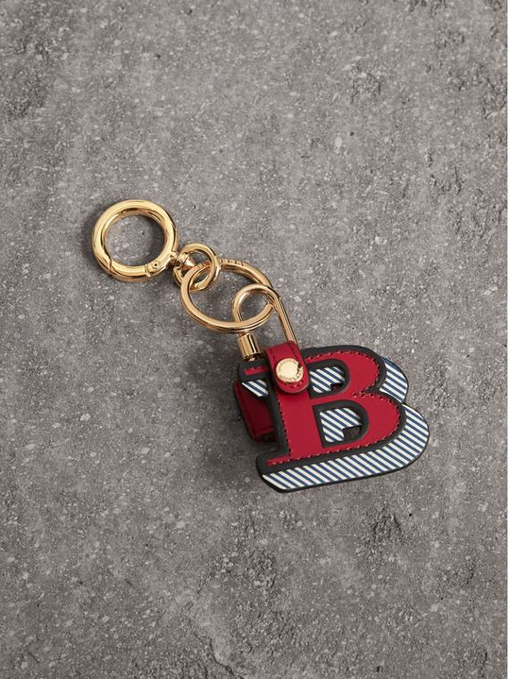 Doodle Motif Leather Charm and Padlock in Parade Red