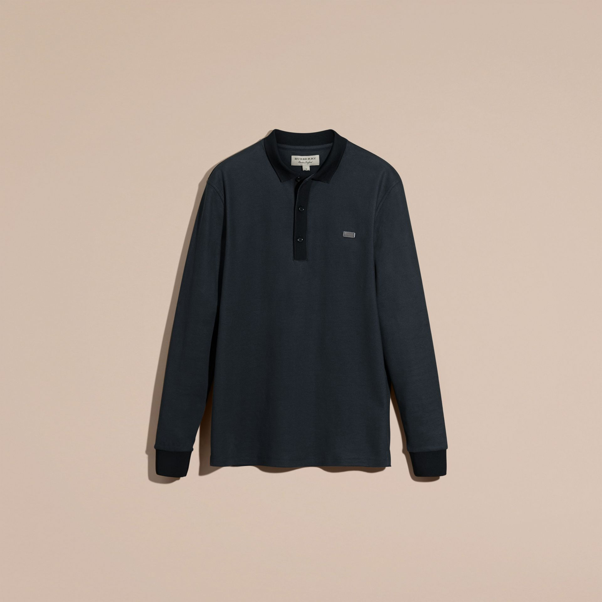 Storm blue/navy Long-sleeved Cotton Piqué Polo Shirt Storm Blue/navy - gallery image 4