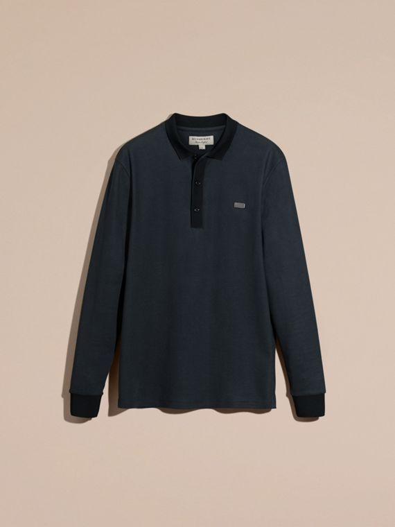 Storm blue/navy Long-sleeved Cotton Piqué Polo Shirt Storm Blue/navy - cell image 3