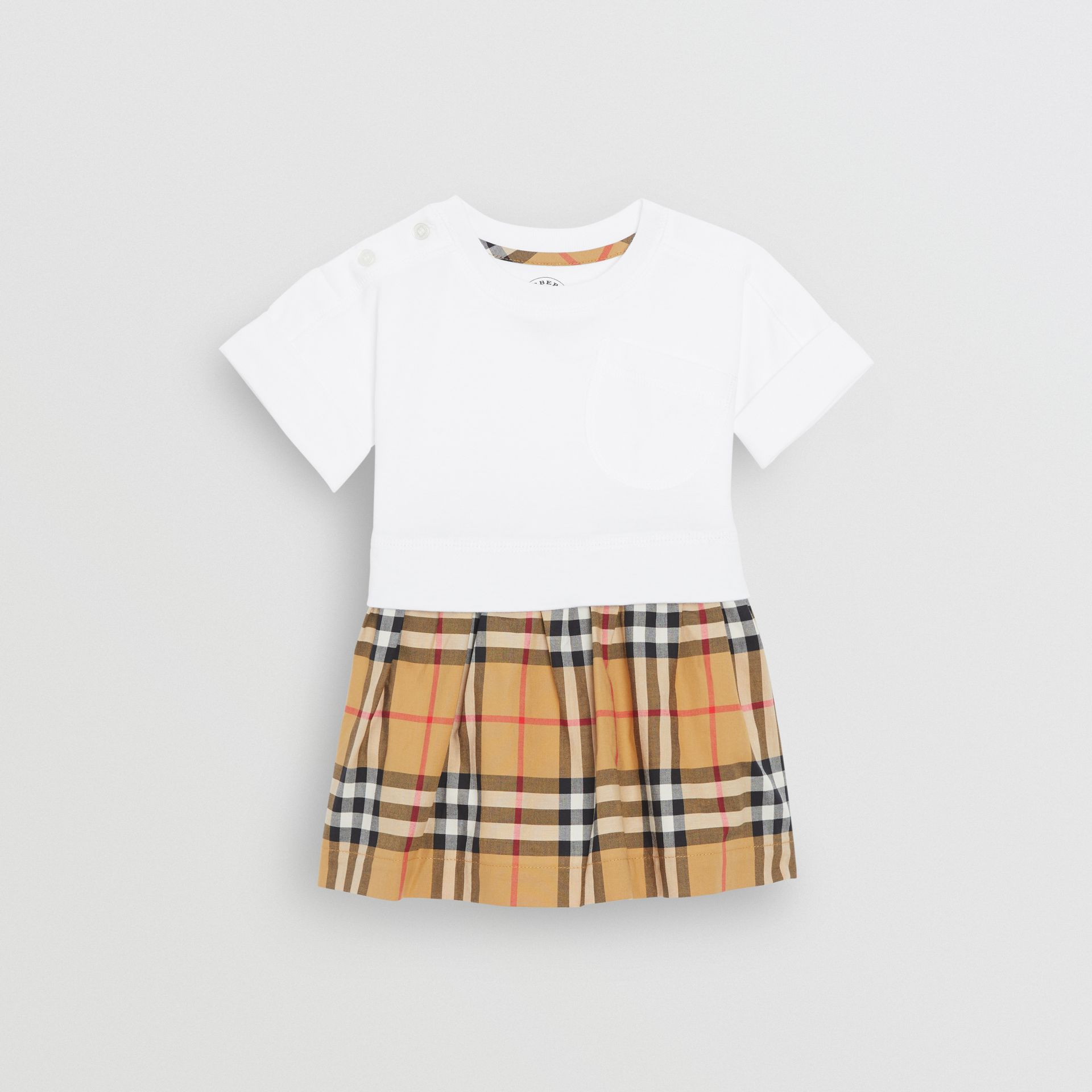 Vintage Check Cotton Dress with Bloomers in White - Children | Burberry United Kingdom - gallery image 0