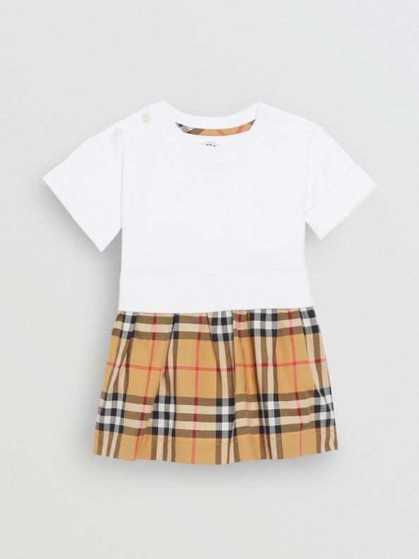 Robe et bloomer en coton à motif Vintage check (Blanc)