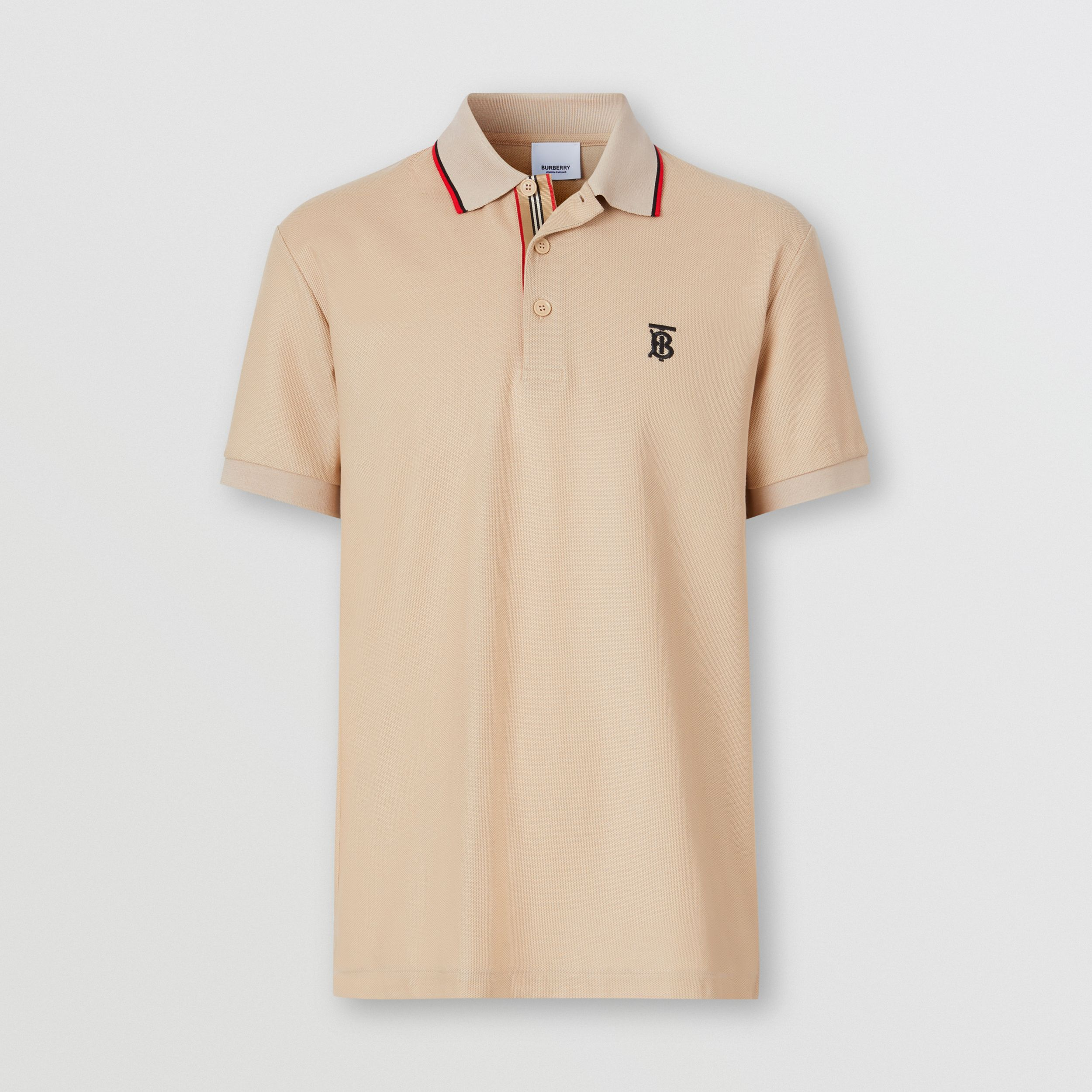 Monogram Motif Cotton Piqué Polo Shirt in Soft Fawn - Men | Burberry - 4