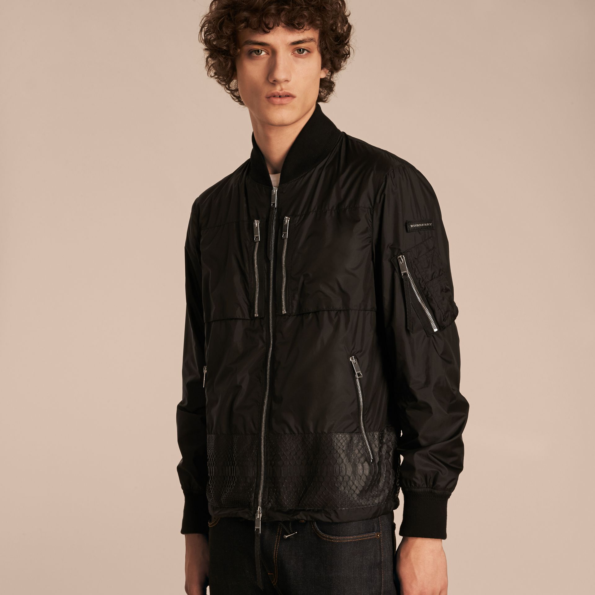 Lightweight Technical Bomber Jacket with Snakeskin in Black - Men | Burberry - gallery image 6