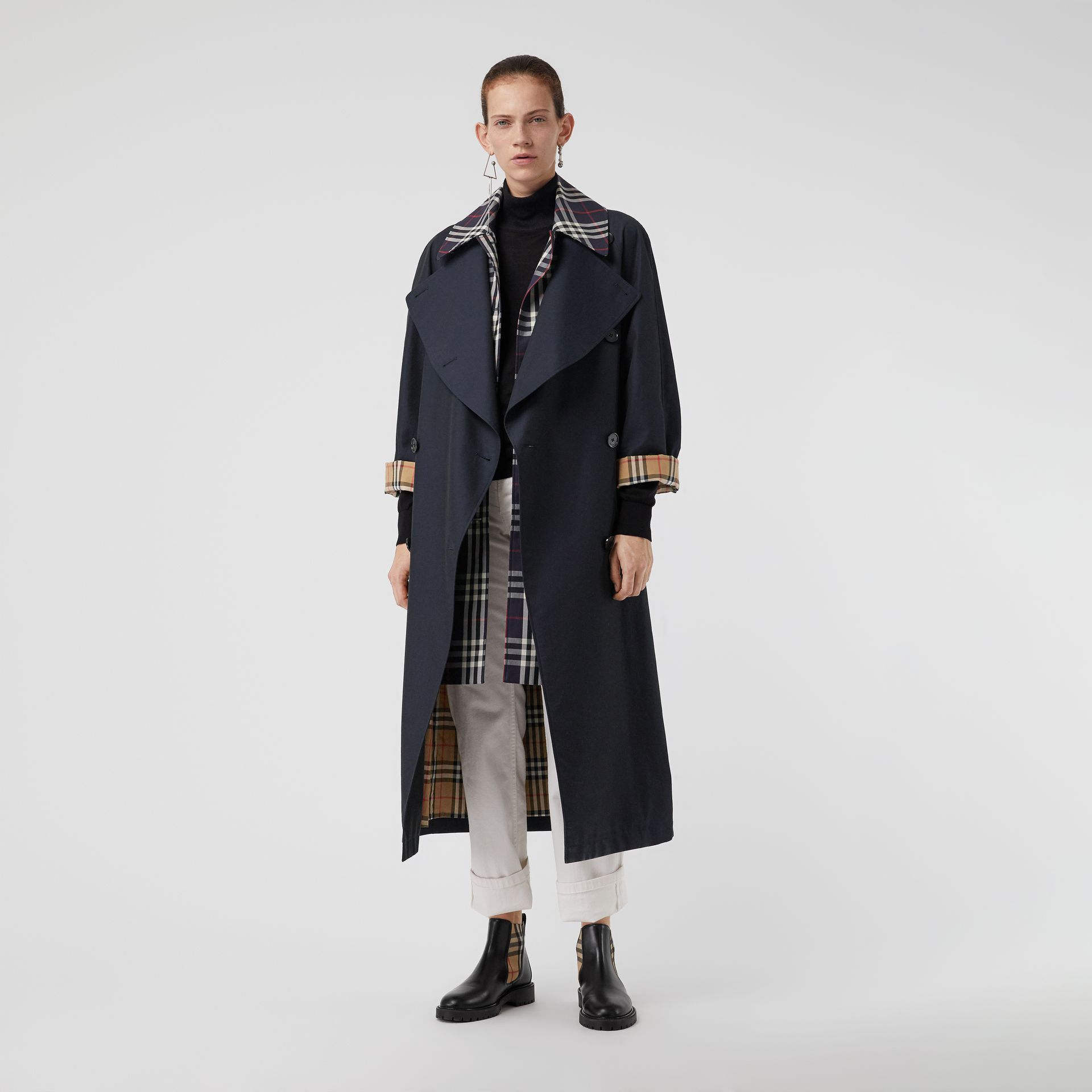 Double-Front Oversized Car Coat in Blue Carbon - Women | Burberry - gallery image 0