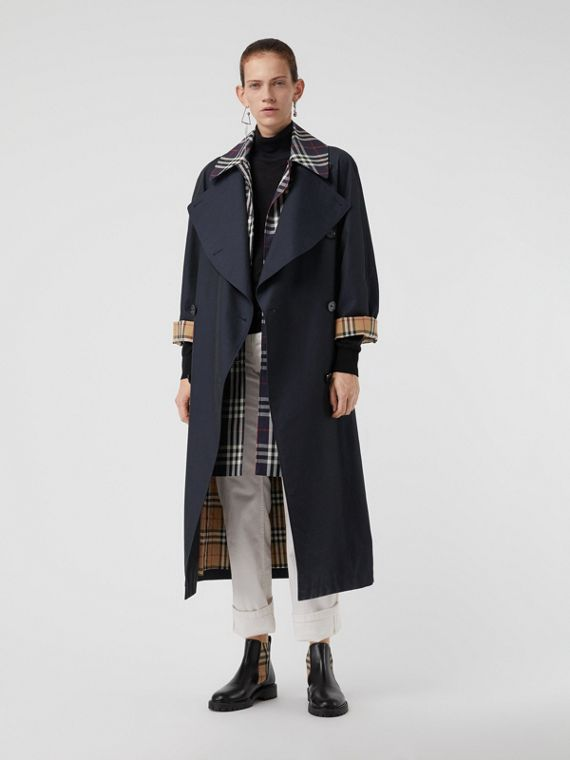Double-Front Oversized Car Coat in Blue Carbon