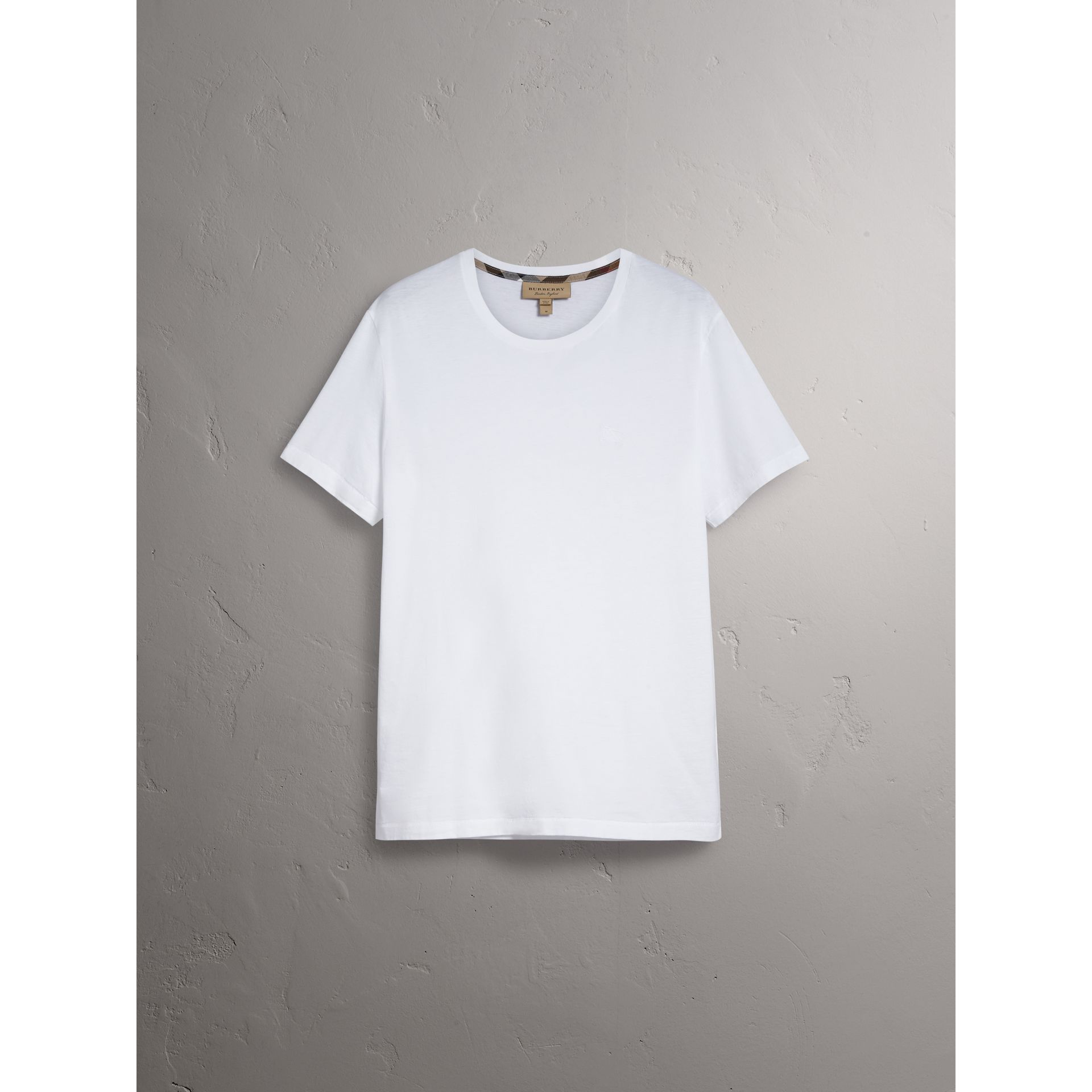 Cotton Jersey T-shirt in White - Men | Burberry Australia - gallery image 3