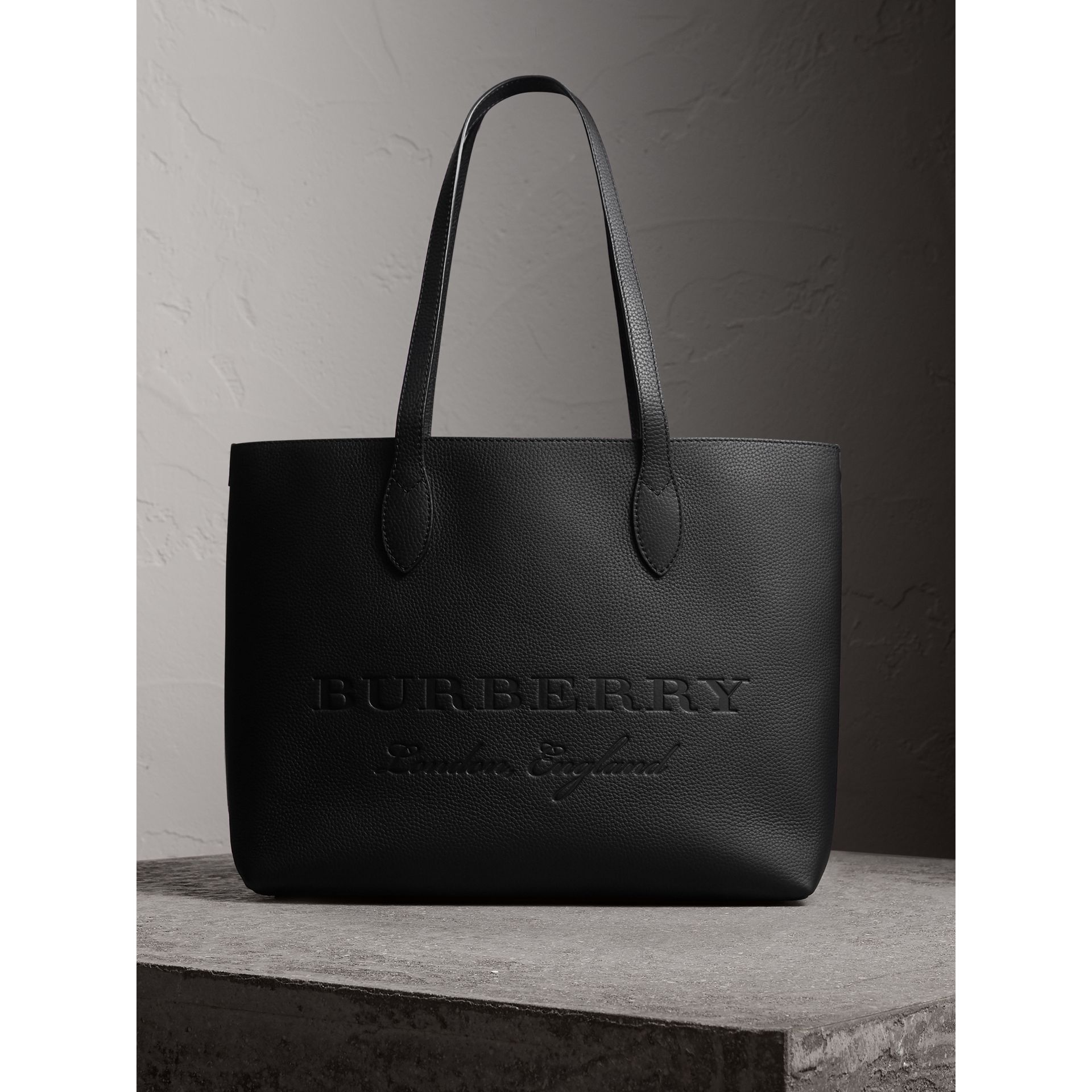 Embossed Leather Tote in Black | Burberry - gallery image 0