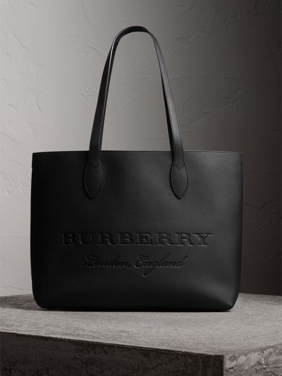 Large Embossed Leather Tote in Black
