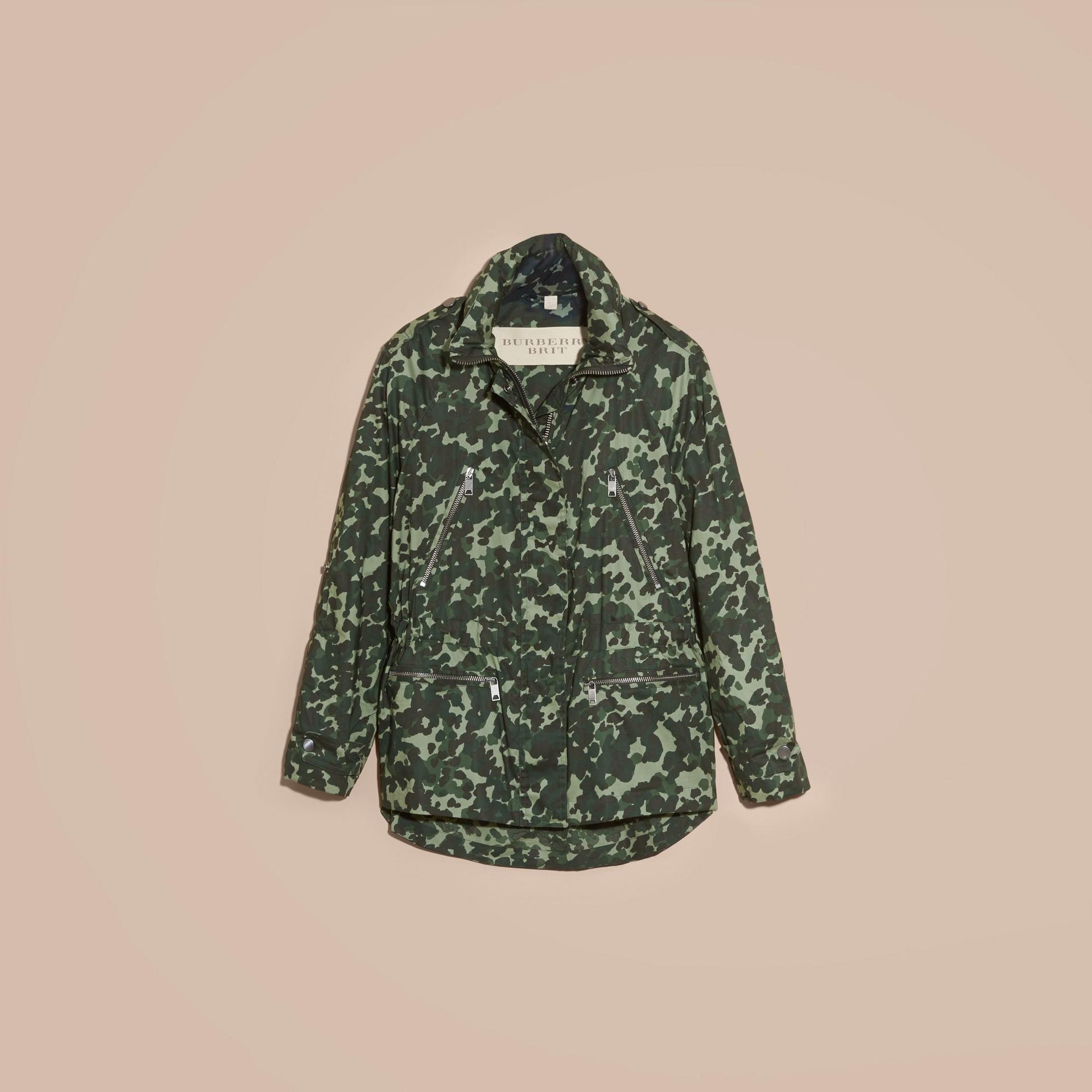 Deep bottle green Showerproof Cotton Parka Jacket with Packaway Hood - gallery image 4