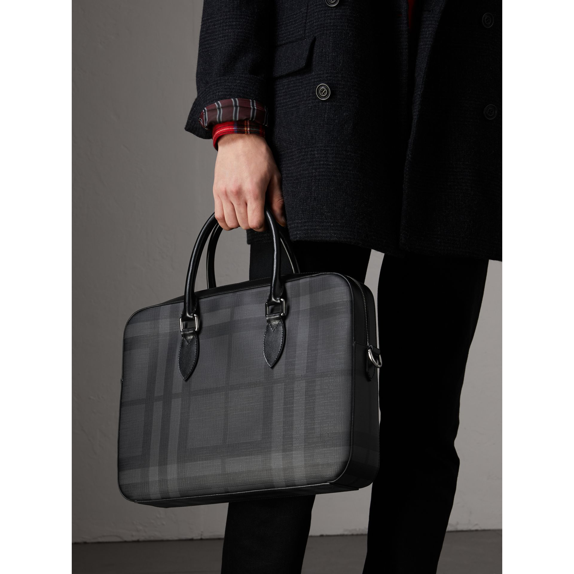 Medium Leather Trim London Check Briefcase in Charcoal/black - Men | Burberry Australia - gallery image 3