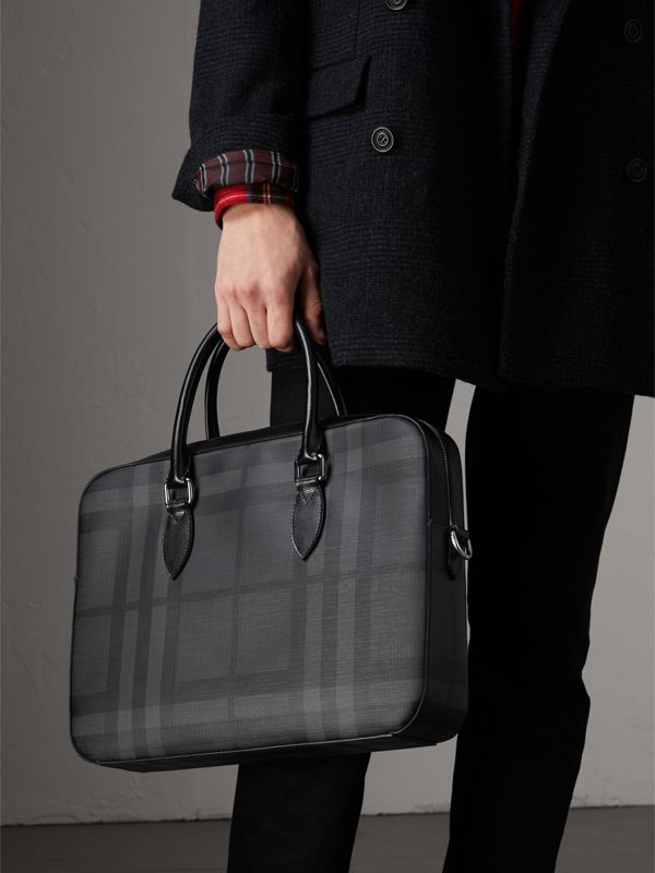 Medium Leather Trim London Check Briefcase in Charcoal/black - Men | Burberry - cell image 3