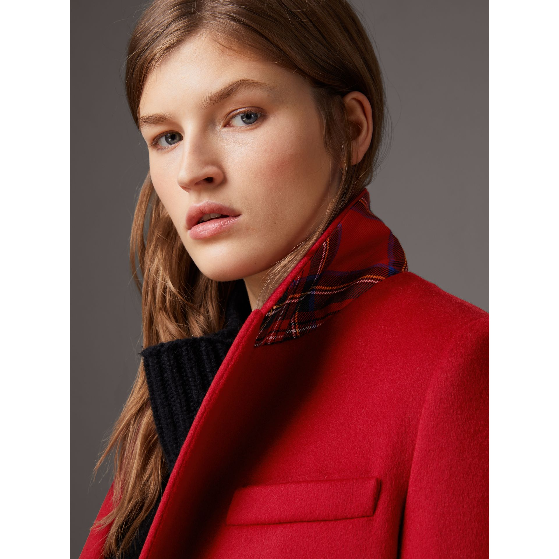 Wool Cashmere Tailored Coat in Parade Red - Women | Burberry Singapore - gallery image 1