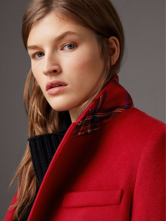 Wool Cashmere Tailored Coat in Parade Red - Women | Burberry Singapore - cell image 1