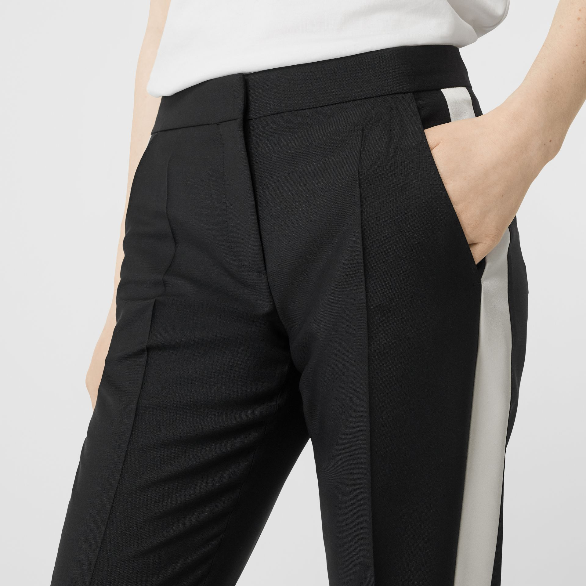 Straight Fit Silk Stripe Wool Tailored Trousers in Black - Women | Burberry - gallery image 1