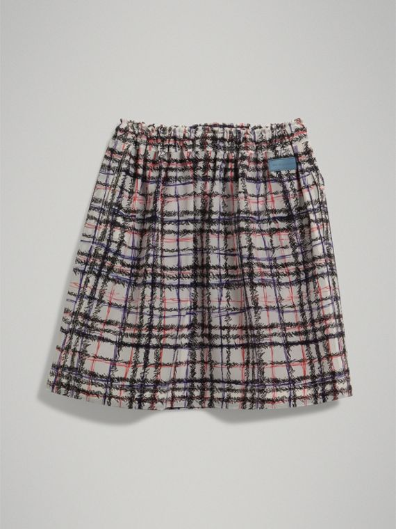 Scribble Check Gathered Silk Skirt in Black/white - Girl | Burberry United States - cell image 3