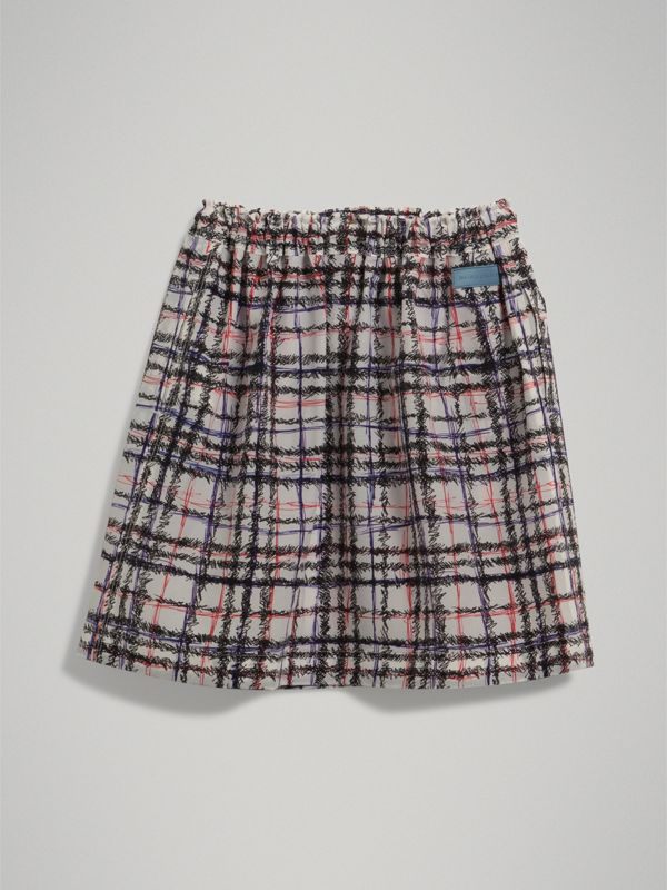 Scribble Check Gathered Silk Skirt in Black/white | Burberry - cell image 3