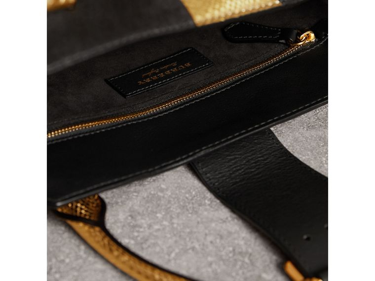The Medium Buckle Tote in Suede and Snakeskin in Black/gold - Women | Burberry - cell image 4
