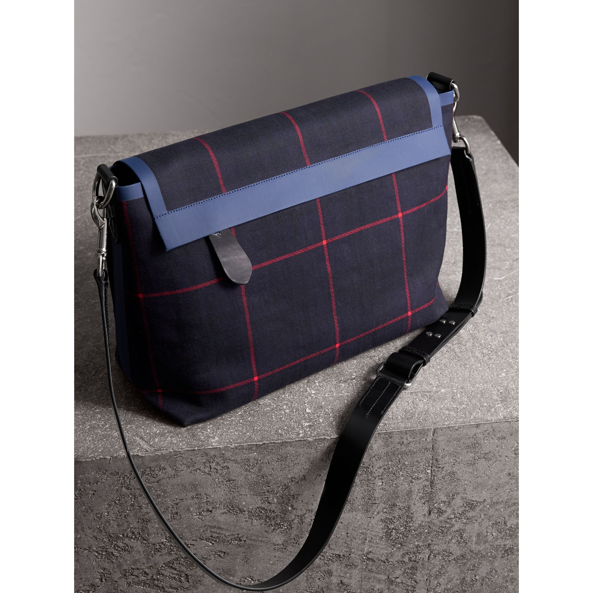 Large Tartan Cotton Messenger Bag in Deep Navy | Burberry - gallery image 3